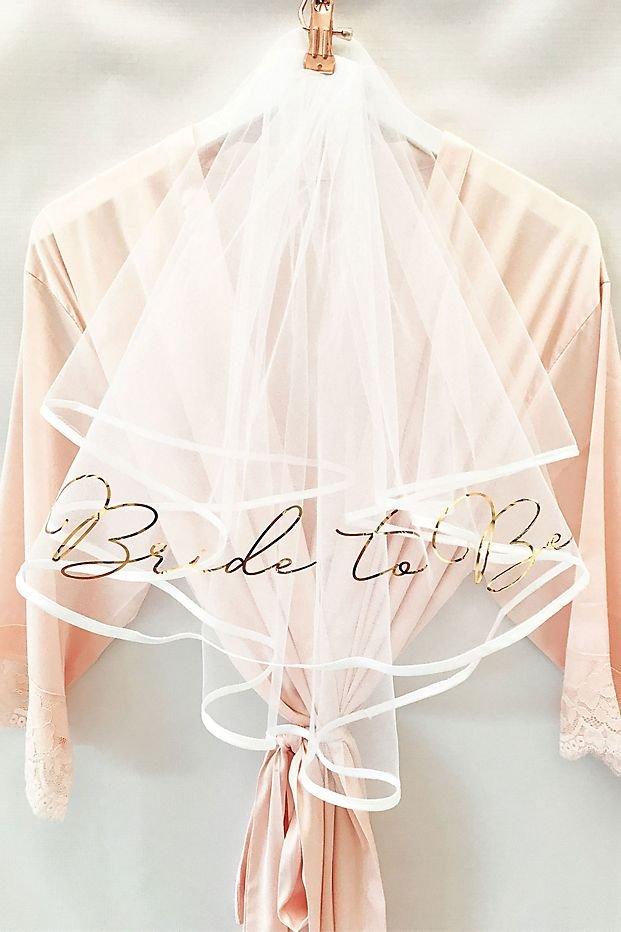 Bride-to-be Rose Gold Foil Printed Bridal Shower Veil