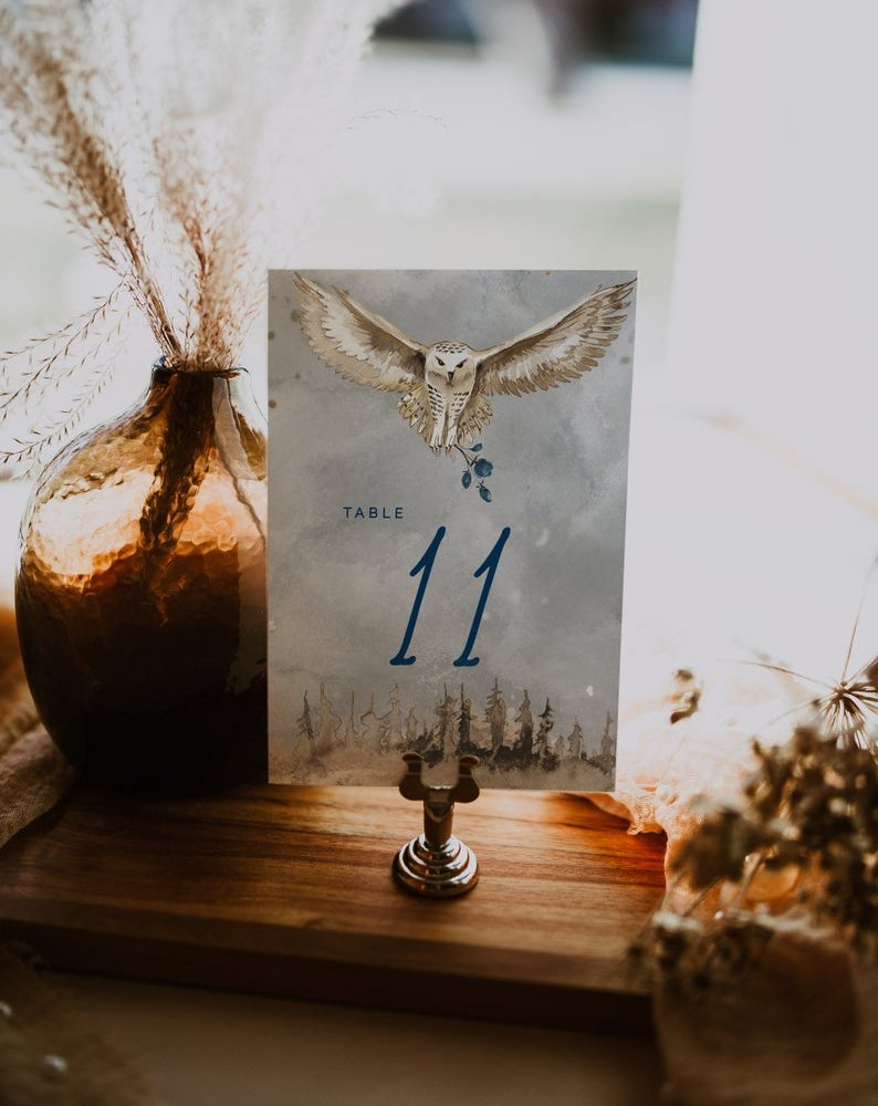 Harry Potter Magical Owl Wedding Table Numbers