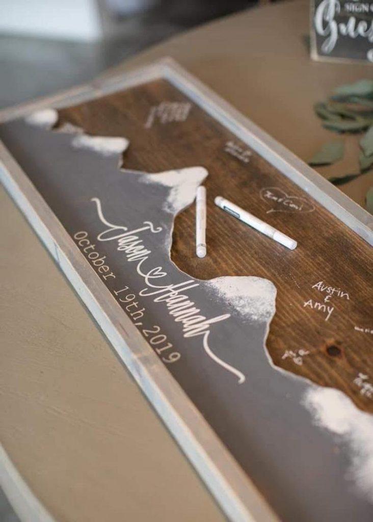 Mountain Wood Unique Alternative Wedding Guest Book
