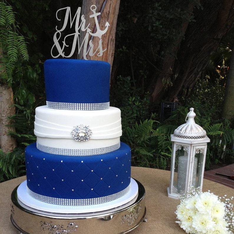 Mr. & Mrs. Nautical Wedding Cake Topper