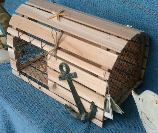 Nautical Cedar Wood Lobster Trap Wedding Card Box