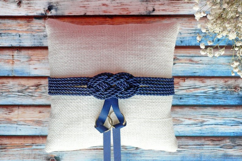 Nautical Ring Pillow With Infinity Knot