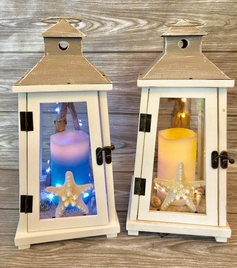 Nautical Rustic Wood Lantern Wedding Decor