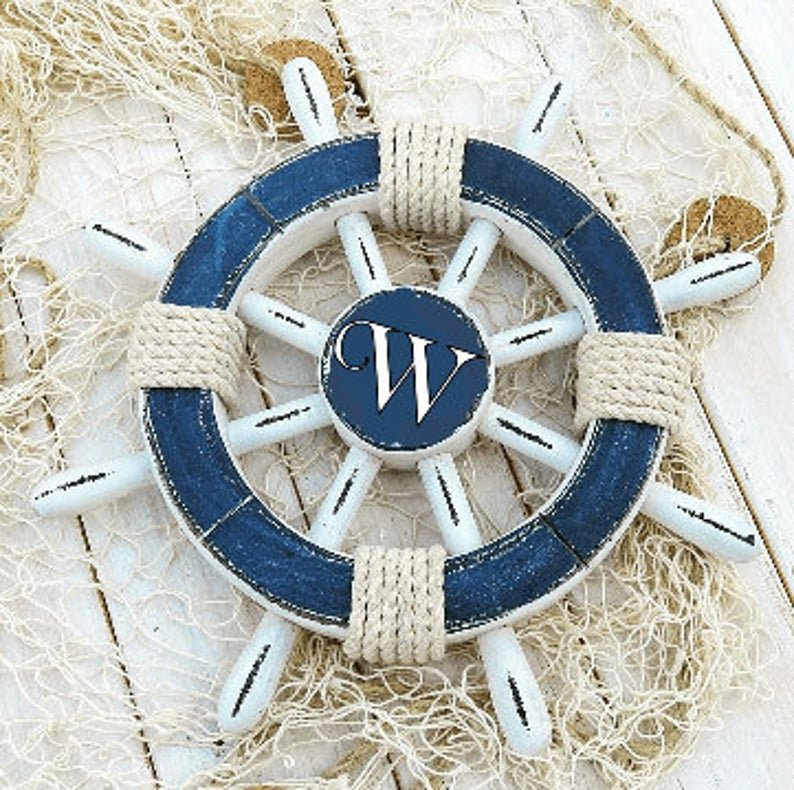 Personalized Nautical Wheel Wedding Decor