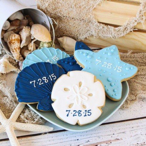 Personalized Seashell Cookies Nautical Wedding favor Ideas