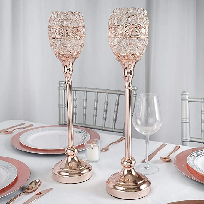 Rose Gold Crystal Candle Holders - Bridal Shower Centerpieces