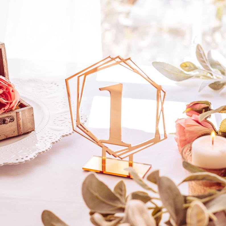 Rose Gold Bridal Shower Geometric Table Numbers