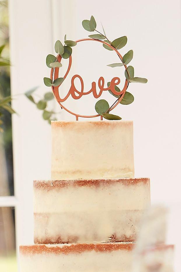 Love Rose Gold Bridal Shower Cake Topper