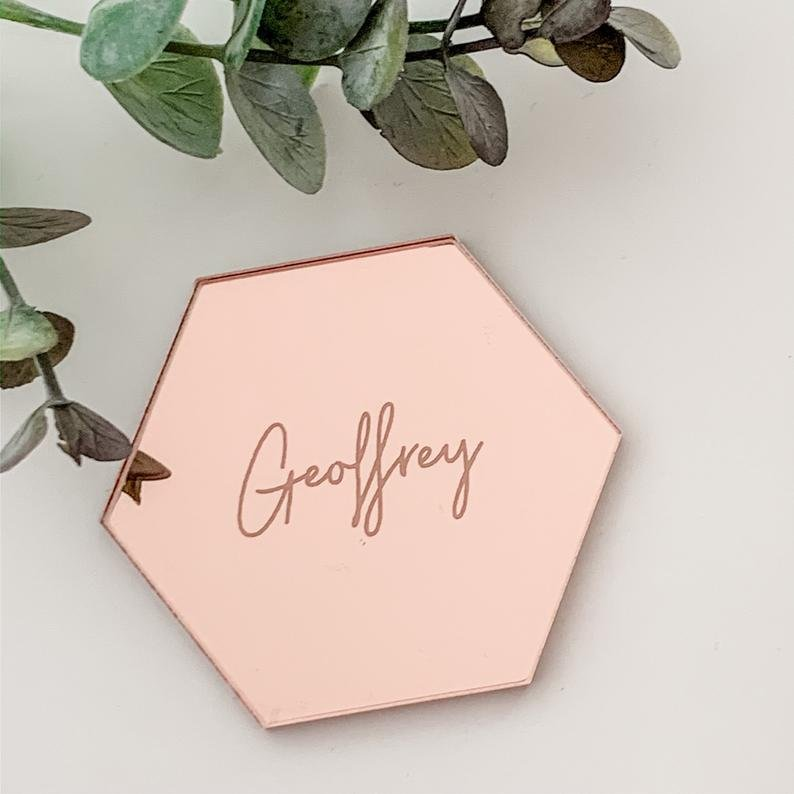 Rose Gold Mirror Personalized Place Card Love Themed Bridal Shower Decorations