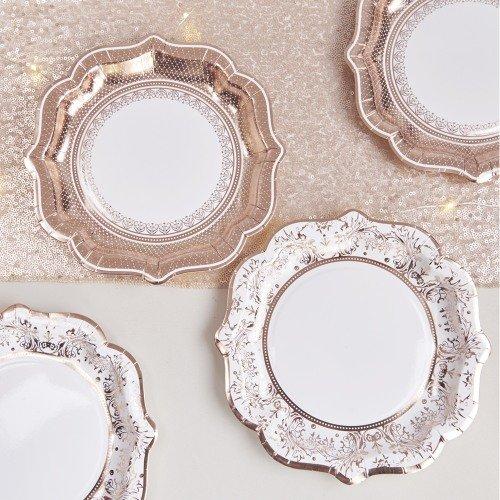 Rose Gold Porcelain Paper Plates Bridal Shower Table Decor Idea