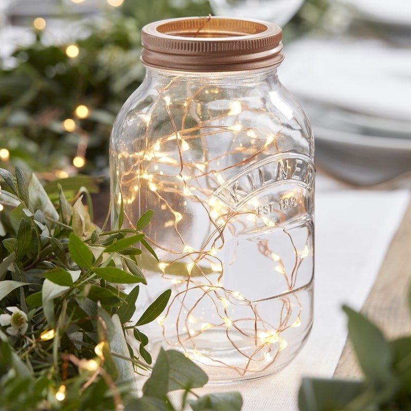 Rose Gold String Lights Bridal Shower Centerpiece Idea