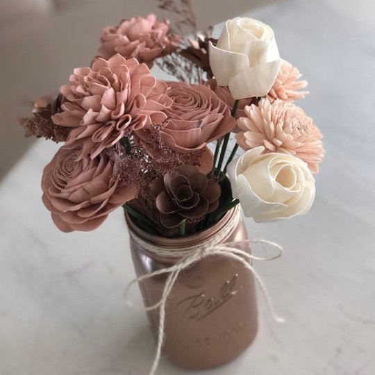 Rose Gold Wooden Flower Arrangement