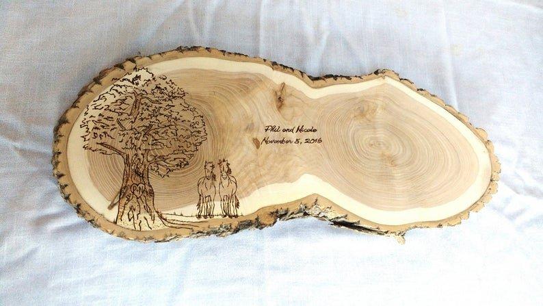 Unique Hand-crafted Tree Slice Wedding Alternative Guest Book