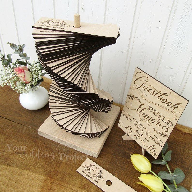 Hand-crafted Wood Tower Wedding Alternative Guest Book