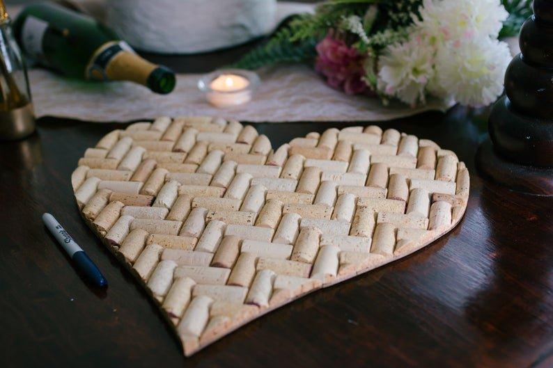Wine Cork Heart Alternative Wedding Guest Book