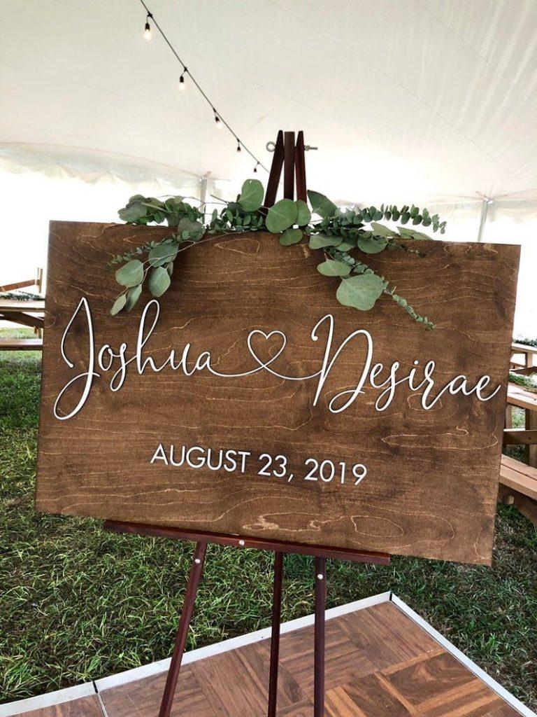 Backyard Wedding Personalized Welcome Sign