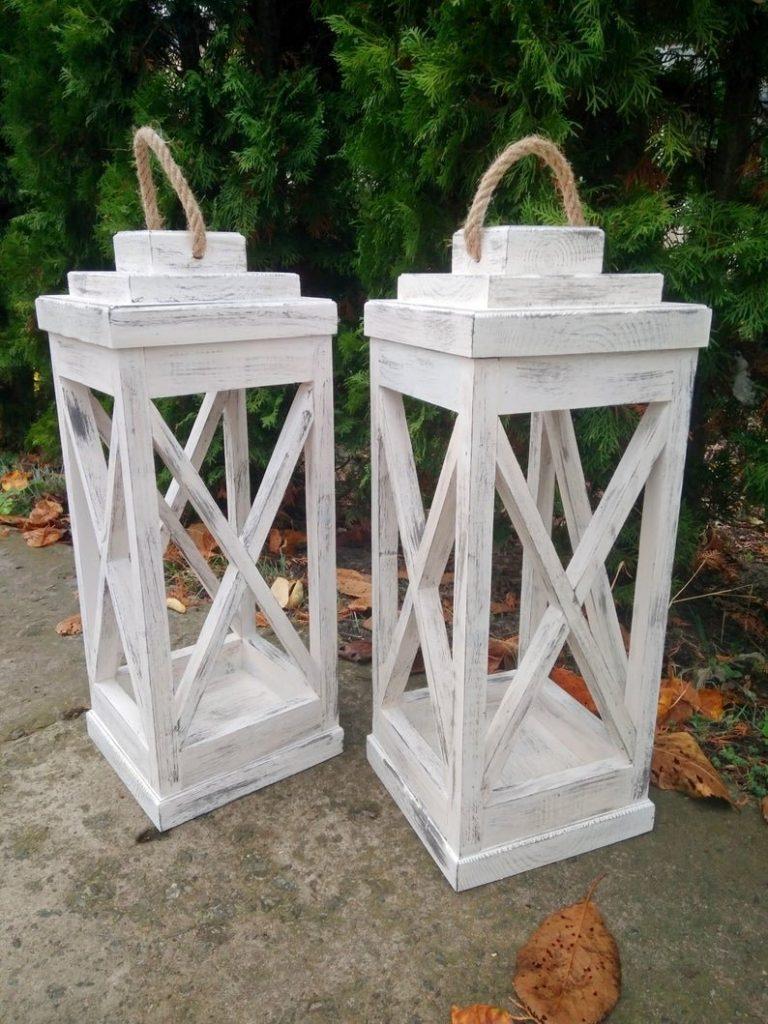 Reclaimed Wood Rustic Candle Lanterns Backyard Wedding Decor Idea
