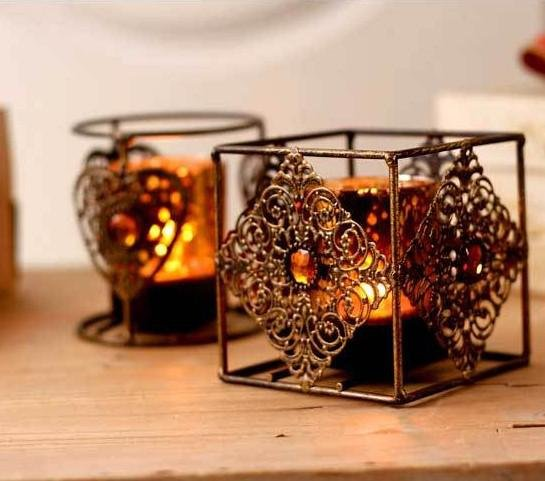 Vintage Art Bronze Candle Holders For Bohemian Fall Wedding Table Decor