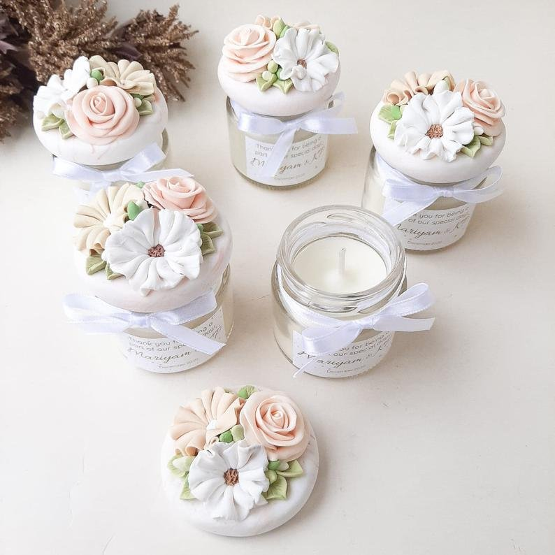 Clay Decorated Lid Candle Wedding Favors