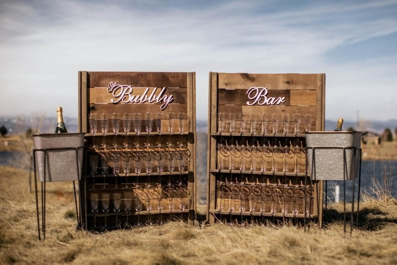 Champagne Bubbly Wall Backyard Wedding Idea