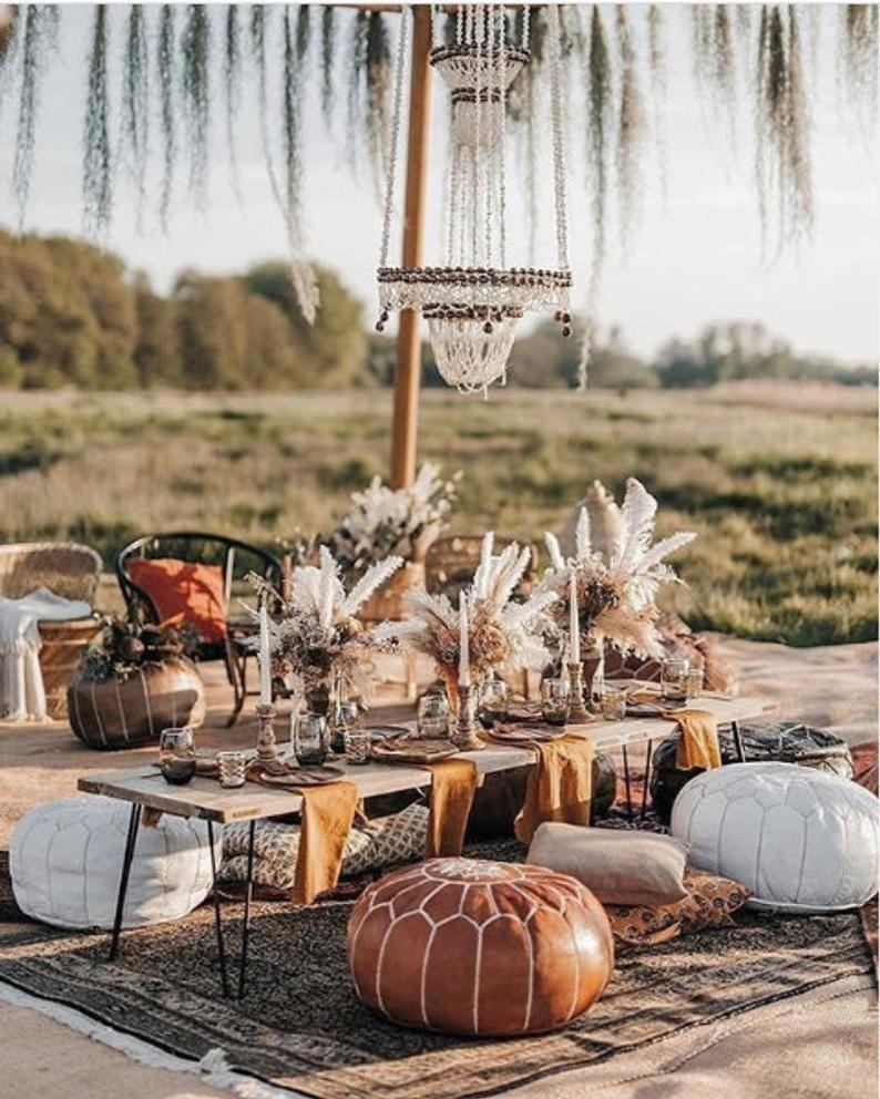 Set of Moroccan Poufs Fall Wedding Bohemian Table Decor