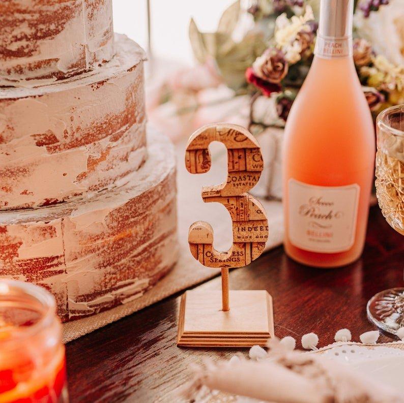 Fall Wedding Bohemian Wine Corks Table Numbers