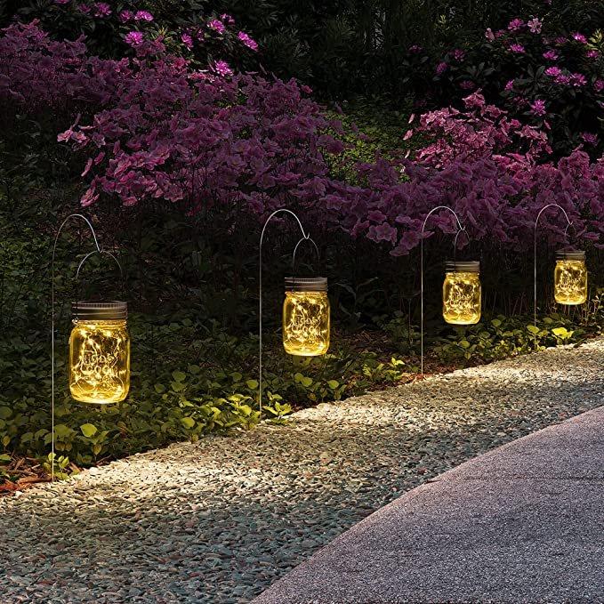 Hanging Solar Mason Jar Lanterns Backyard Decor