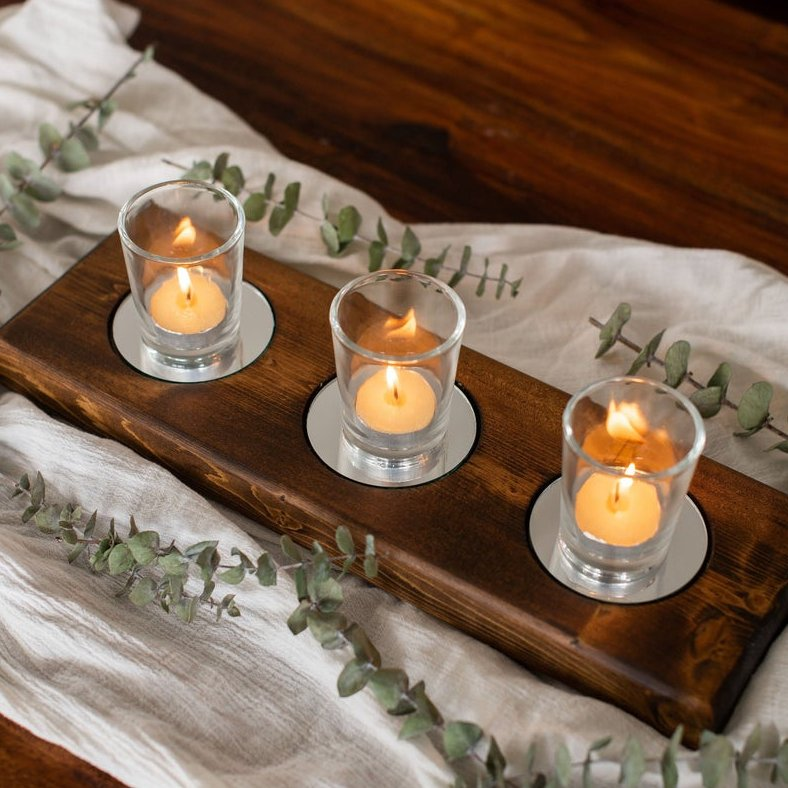 Mirrored Long Candle Holder Wedding Table Decor