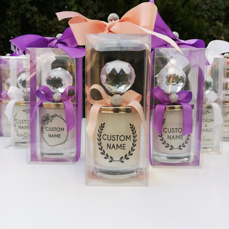 Personalized Candle In Crystal Jar Wedding Favors