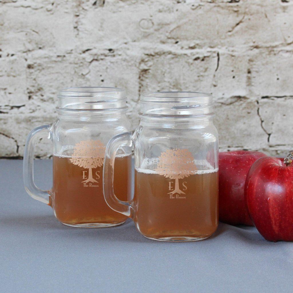 Personalized Mason Jar Mugs Backyard Wedding Decor Idea
