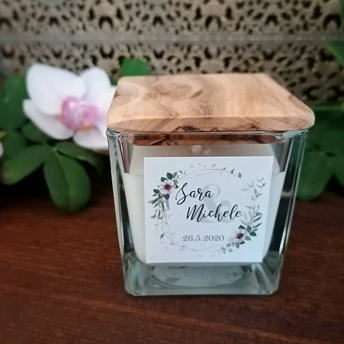 Personalized Natural Candle Bridal Wedding Favor