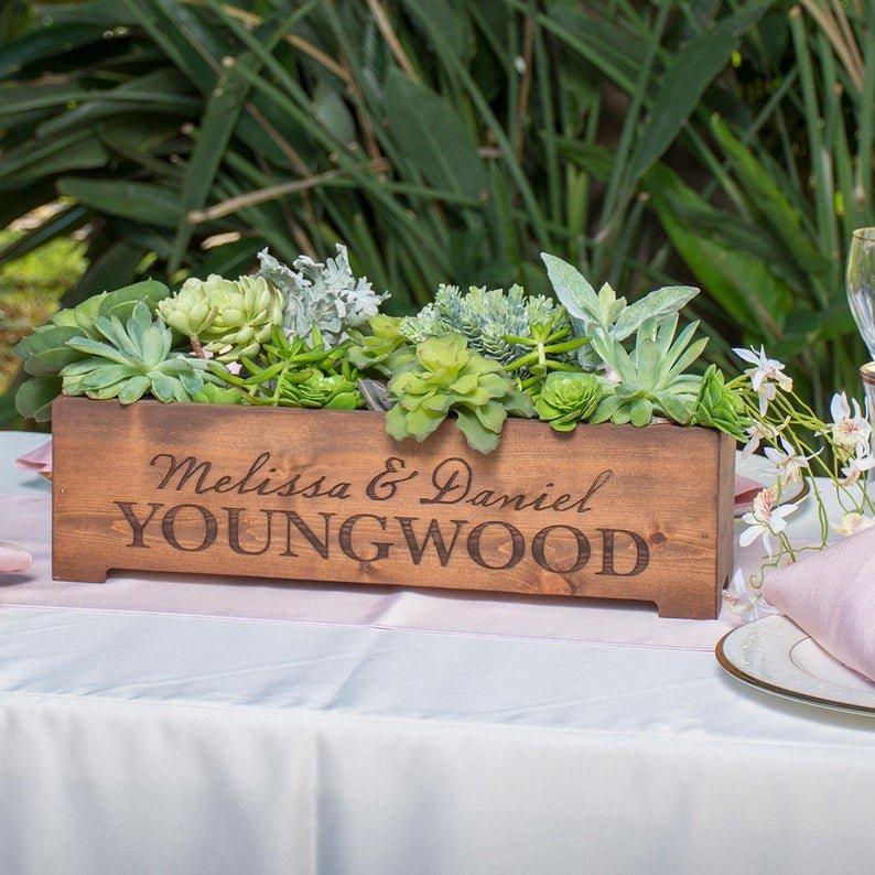 Personalized Wood Planter Box Wedding Centerpiece
