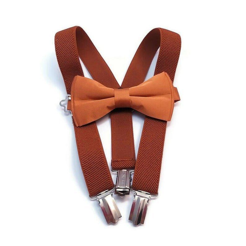 Rust Elastic Suspenders & Bow Tie Fall Bohemian Wedding Ideas For The Groom & Groomsmen