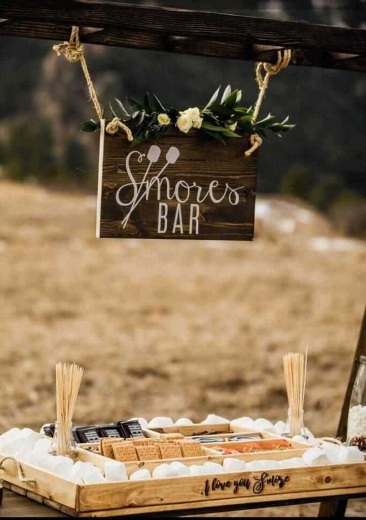 S'mores backyard wedding station
