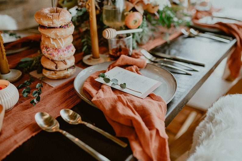 Terracotta Gauze Napkins Bohemian Fall Wedding Table Decor