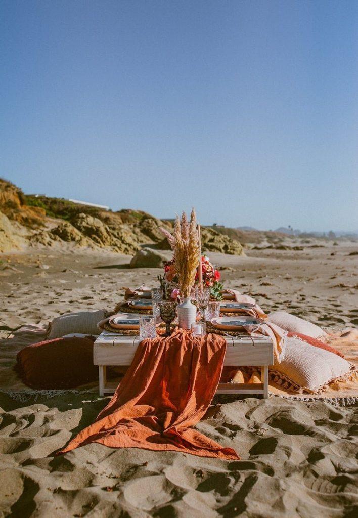 Terracotta Gauze Table Runner Bohemian Fall Wedding Table Decor