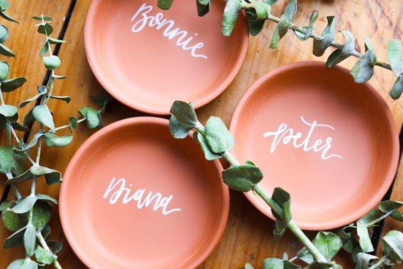 Terracotta Saucer Place Cards Bohemian Fall Wedding Table Decor