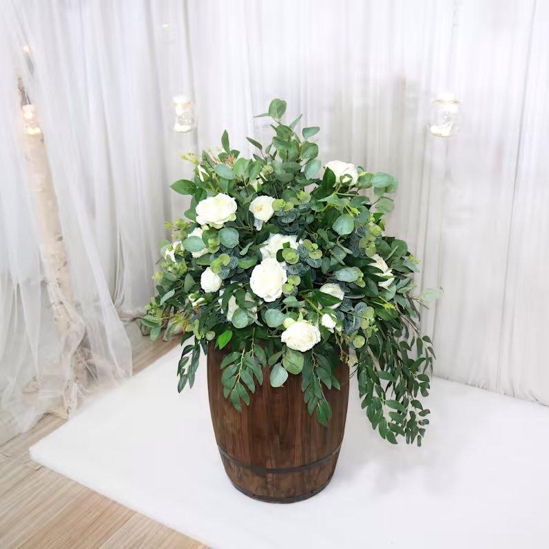 Whiskey Barrel Backyard Wedding Flower Decor