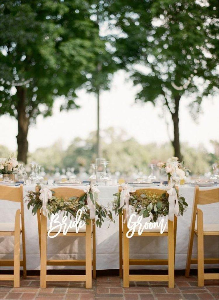 Bride & Groom Chair Signs Romantic Wedding Decor Idea