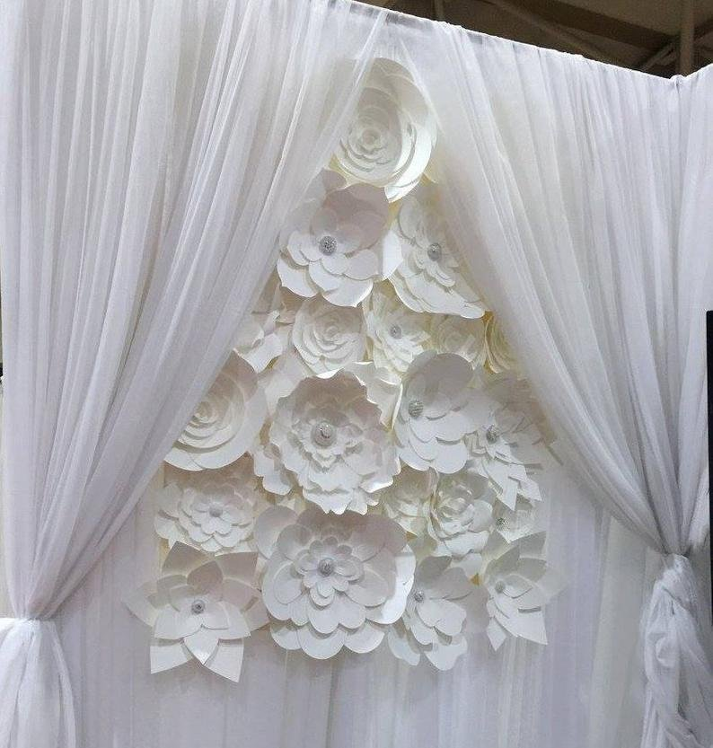 All-white Paper Flower Backdrop Romantic Wedding Decor