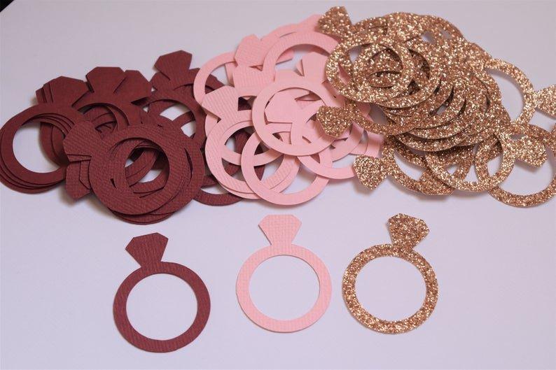 Burgundy, Blush & Rose Gold Diamond Ring Confetti