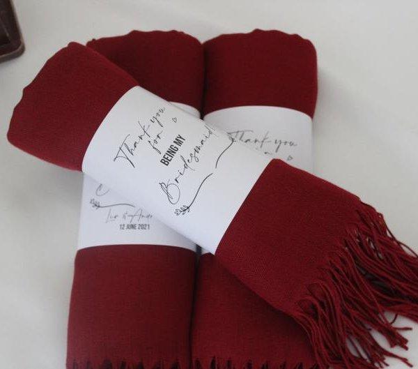 Burgundy Pashmina Shawls Bridal Shower Gift Idea
