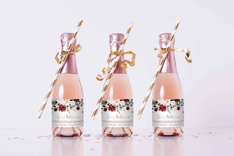 Editable Mini Champagne Bottle Labels Bridal Shower Idea