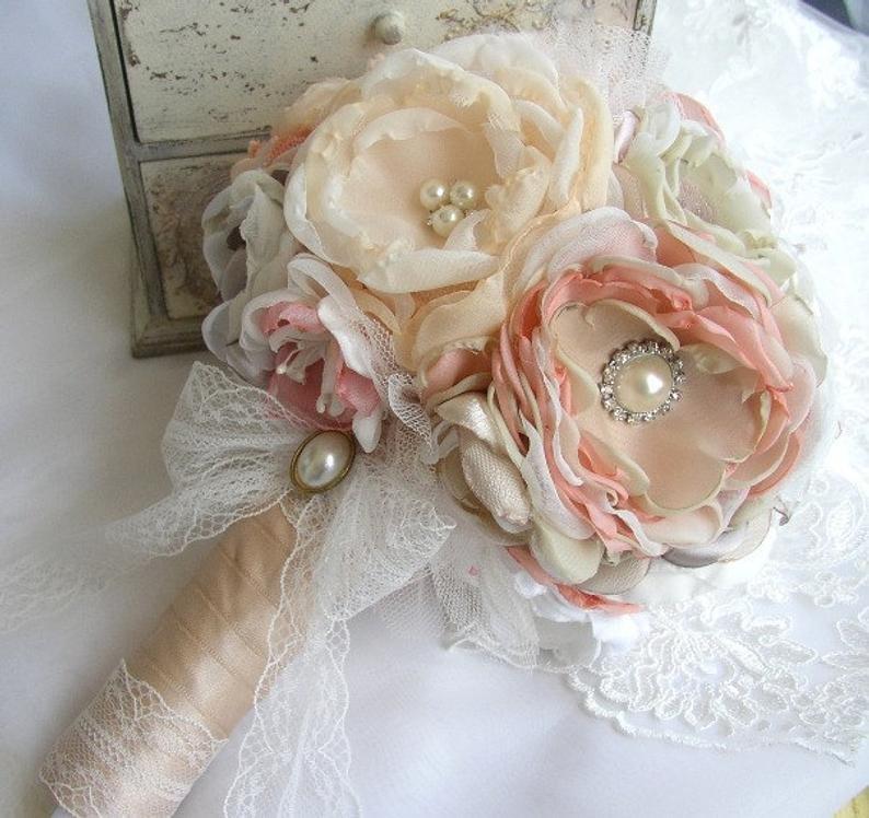 Vintage Champagne & Blush Wedding Flower Bouquet
