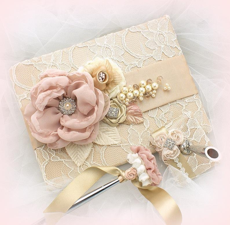 Champagne and Blush Wedding Guest Book