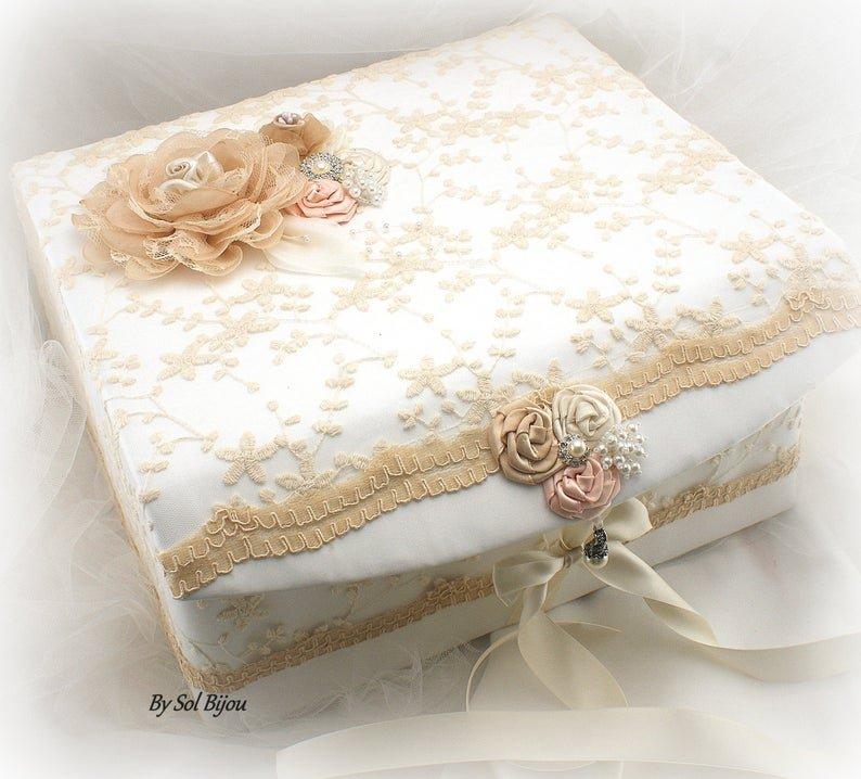 Champagne and Blush Wedding Keepsake Box