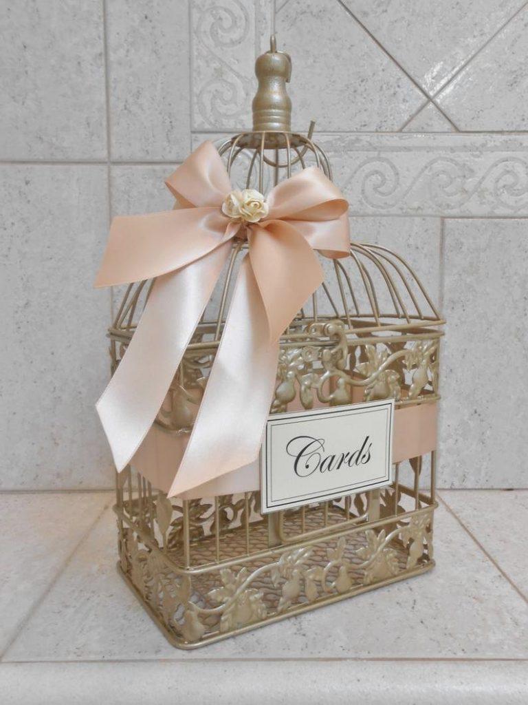 Champagne Gold & Blush Wedding Card Box