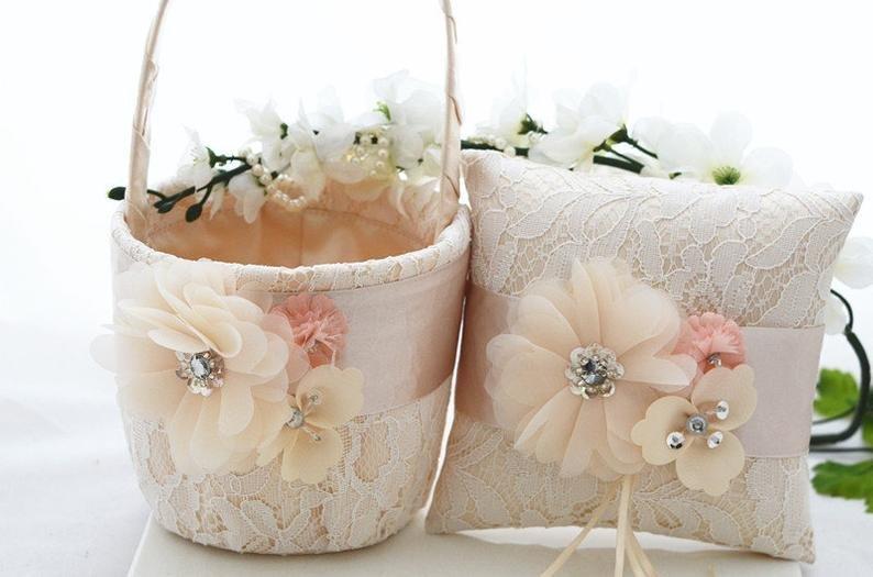 Champagne Ring Bearer Pillow & Flower Girl Basket Set