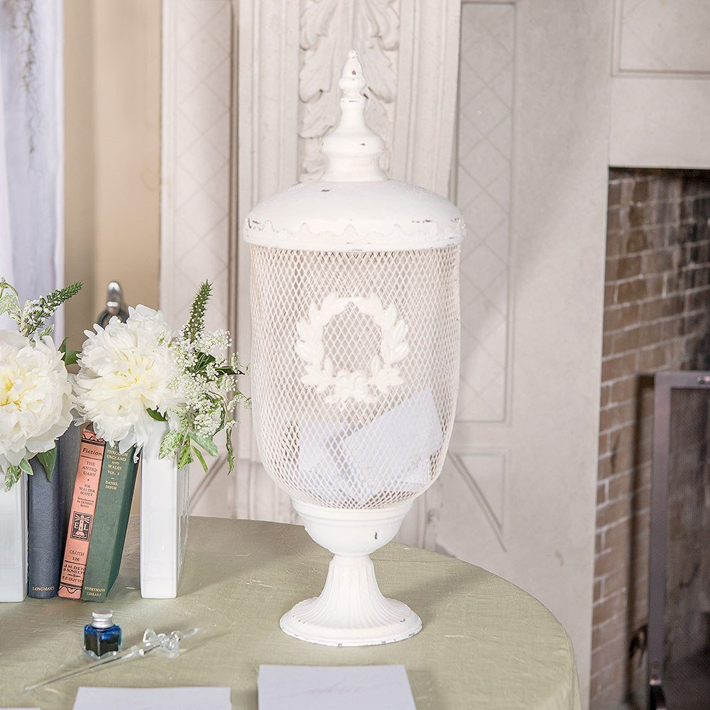 Decorative White Metal Urn Wedding Decor