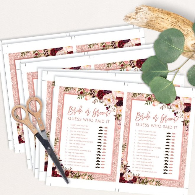 Rose Gold & Burgundy Bridal Shower Digital Download Game Bundle